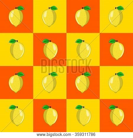 Vector Illustration Of A Lemon In A Pattern. Lemon Contains Vitamin C Which Is Quite High