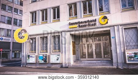 Basel, Switzerland - December 25, 2017: View On The Facade Of The Professional Association Of Basel-