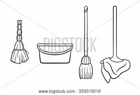Outline Style Mop With Rag, Broom, Bucket And Besom For Cleaning