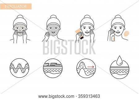 Exfoliator, Peeling, Fruit Acid Skin, Scrub, Care Procedure Vector Icons