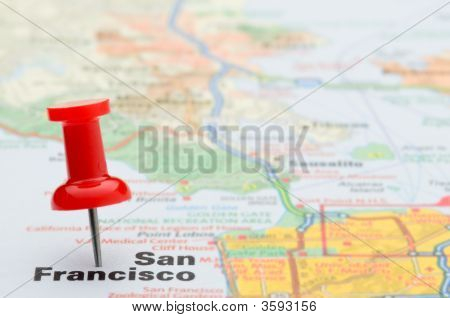 Red Pushpin Marking San Francisco On A Map