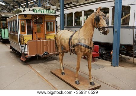 Oslo, Norway - June 03, 2012: Exposition Of Sporveismuseet - Tramway (transport) Museum  In Oslo, No