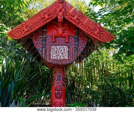 Sculpture And Shrines Dot The Gardens. Hamilton Gardens, Hamilton, New Zealand