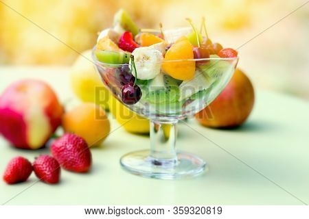 Fruit Salad, Healthy Meal, Freshly Cut Organic Fruit In A Glass