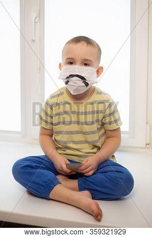 Sad Boy In Medicine Mask, Quarantine At Home, Virus Protection