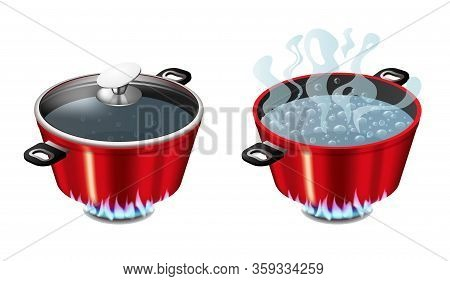Set Of Red Pans With Boiling Water, Opened And Closed Pan Lid