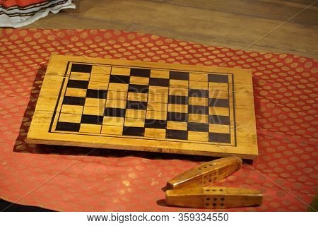 Vintage Set Of Parcheesi Game Of Dice Played In The Epic Poem Mahabharata. Set Is Made Of Wax And Di