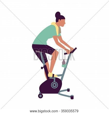 Healthy Woman Exercising On Stationary Bike Flat Vector Icon. Workout At Gym Cardio Fitness Training
