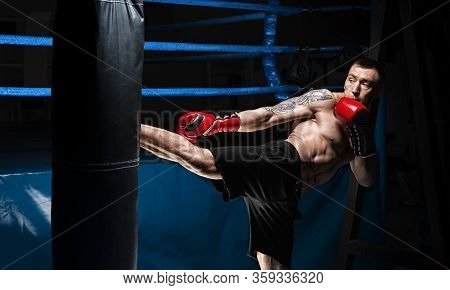 Kickboxer Kicks The Bag. Training A Professional Athlete. The Concept Of Mma, Wrestling, Muay Thai.