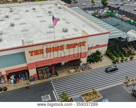 Aerial View Of The Home Depot Store And Parking Lot In San Diego, California, Usa. Home Depot Is The