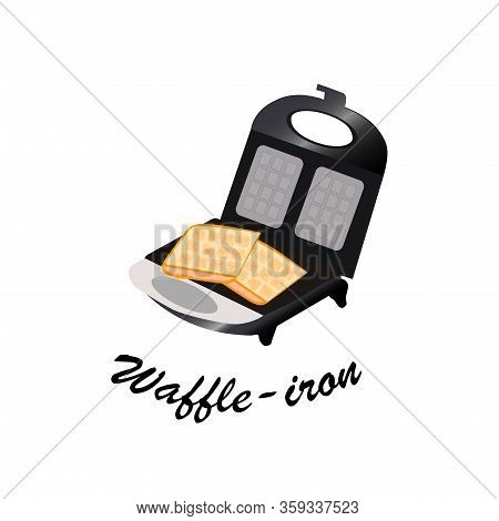 Waffle Iron Electric Flat Metallic Luster With Sweet Waffles Concept