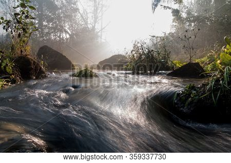 The Mountain Stream Flows Among Stones. Early Spring In The Wood, Wonderful Solar Morning. The Gaze