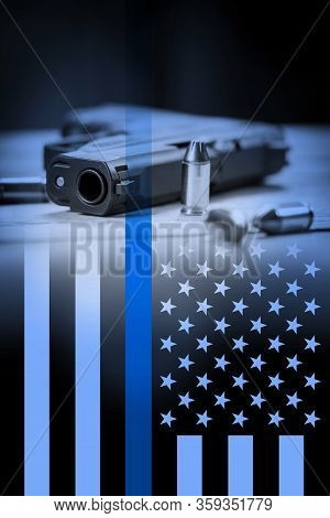 A Police Flag Background With Gun Background.