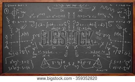 Math Physics Formulas On Chalkboard With Wooden Frame
