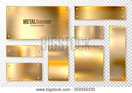 Realistic Shiny Metal Banners Set. Brushed Steel Plate. Polished Copper Metal Surface. Vector Illust
