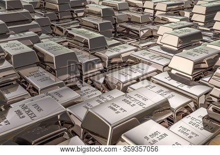 Nickel Ingots, Bars Background Closeup, 3d Rendering