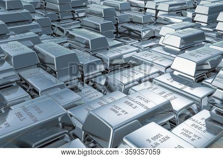 Palladium Ingots, Bars Background Closeup, 3d Rendering