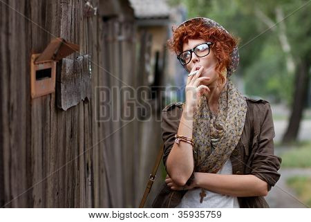 Hipster Girl Smoking Cigarette