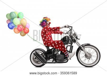 Full length profile shot of a clown riding a chopper motorbike with a bunch of balloons isolated on white background
