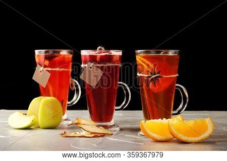 Set Of Tea In Mulled. Autumn Traditional Drinks With Fruit, Set Punch And Mulled Wine On Christmas.