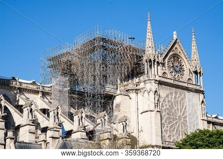 Notre Dame Cathedral in Paris after Fire. France.