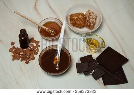 Natural Cosmetics. Spa Skin Care, Ingredients For Chocolate And Honey Wraps. Chocolate, Honey, Olive