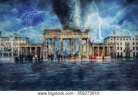 Tornado and bolts of lightning striking Brandenburger Tor, Berlin with flying debris from the top of the monument and people in Pariser Platz below in a concept of a climatic apocalypse