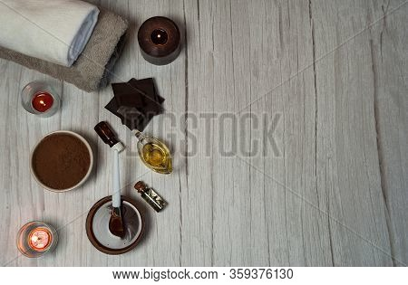 Natural Cosmetics. Spa Skin Care, Ingredients For Chocolate Wraps. Chocolate, Cocoa Powder, Olive Oi