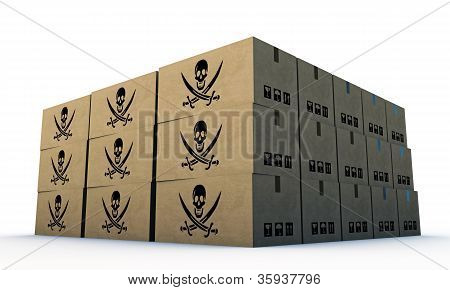 Cardbord Boxes With Pirates Skull