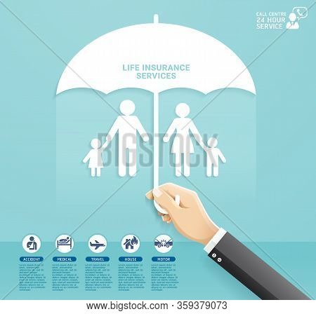 Insurance Policy Services Conceptual Design. Hand Holding Umbrella To Protect Family Paper Cut Style