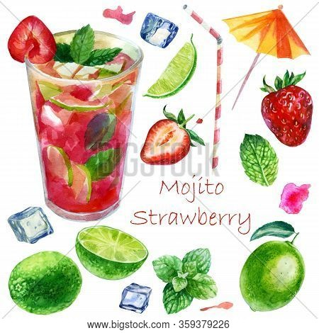 Watercolor Illustration. Image Of A Glass With A Strawberry Mojito Cocktail. Mint Leaves, Lime, Lime