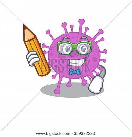 A Brainy Student Avian Coronavirus Cartoon Character With Pencil And Glasses