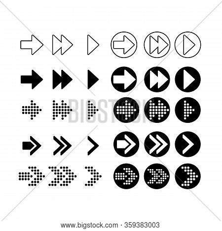 Arrow Icon. Circle. Isolated With A Black Background. Vector To The Right Symbol Sign. Draw Arrow. V