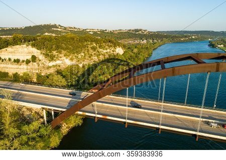 High Above Suspension Bridge Looking Down On Bridge , Aerial Drone Views Of The Pennybacker Bridge O