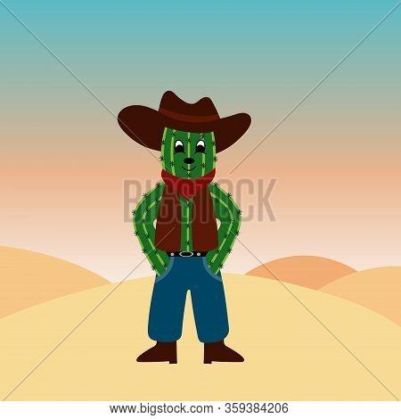 Cartoon Character Cactus Cowboy. Vector Illustration. Flat.