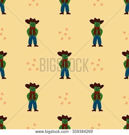 Seamless Pattern With Cactus Cowboy. Vector Illustration.