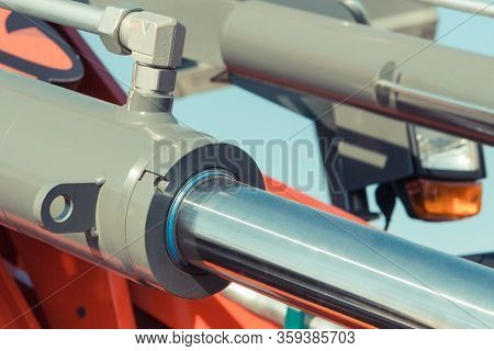 Piston Or Actuator Of Hydraulic And Pneumatic Machinery. Engineering And Technology Concept
