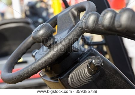 Steering Wheel And Operating Control Panels Or Levers In Forklift Or Other Industrial Or Agricultura