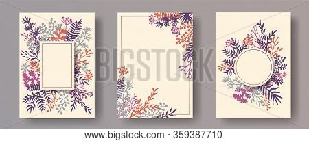 Watercolor Herb Twigs, Tree Branches, Leaves Floral Invitation Cards Templates. Plants Borders Vinta