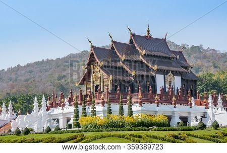 Chiang Mai, Thailand - Dec 25, 2019 : Beautiful Landmark In Garden, Royal Pavilion At Royal Flora Ra