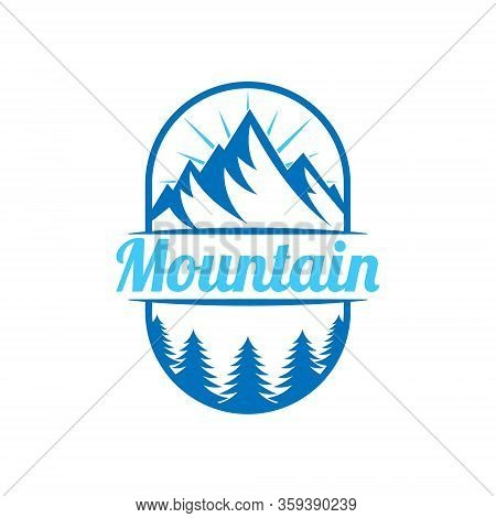 Mountains. Mountain logo vector. Mountain icon vector. Mountain icon. Mountains logo. Mountain logo template. Mountains logo design. Mountains emblem logo. Mountains logo vector illustration for Outdoor Adventure.