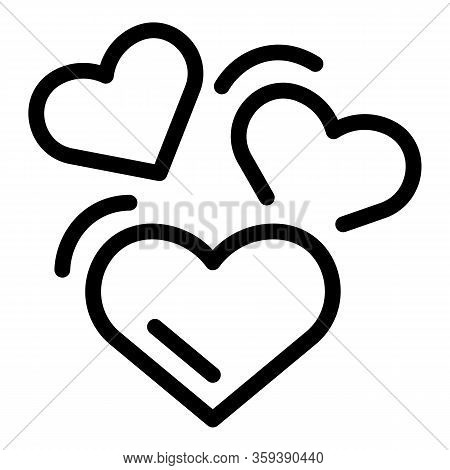 Affection Hearts Icon. Outline Affection Hearts Vector Icon For Web Design Isolated On White Backgro