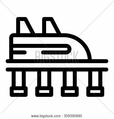 Rocket Roller Coaster Icon. Outline Rocket Roller Coaster Vector Icon For Web Design Isolated On Whi