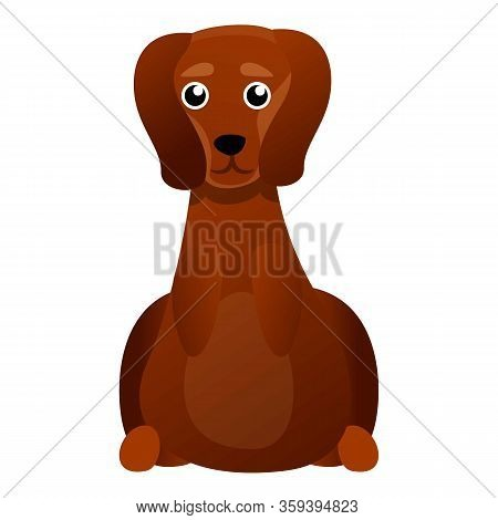 Cute Dachshund Icon. Cartoon Of Cute Dachshund Vector Icon For Web Design Isolated On White Backgrou