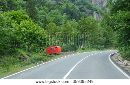 Red Trailer Near The Way At Forest Not Camp Place