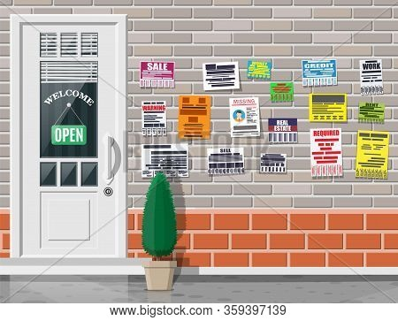 Various Tear Off Papers Ad On On Brick Wall. Advertisement And Announcement In Big City. Door On Cit