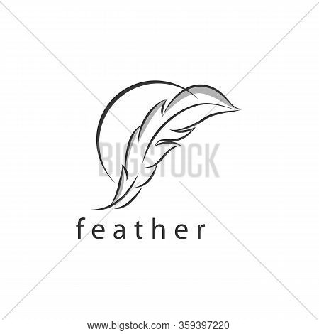 Feather Icon. Illustration Of Feather Making Line On White Background. Feather Pen Silhouette. Feath