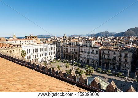 Palermo, Sicily - February 8, 2020: Wide Angle Shot Of The Town Square Below Palermo Cathedral With