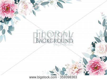 Pink Peony Flower And White Rose With Greenery Frame Border On White Background. Floral Template For