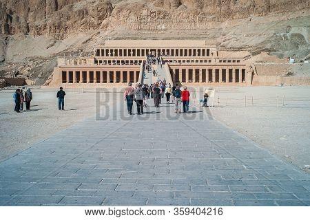 Deir El-bahari, Luxor, Egypt - December 31 2010: Ancient Mortuary Temple Of Queen Hatshepsut Called